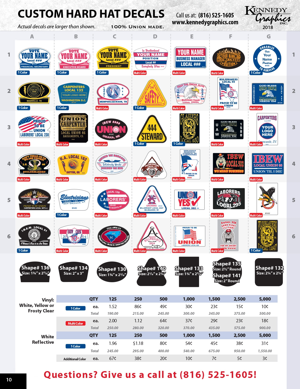 Kennedy Graphics Custom Hard Hat Decals 2018 catalog page 10