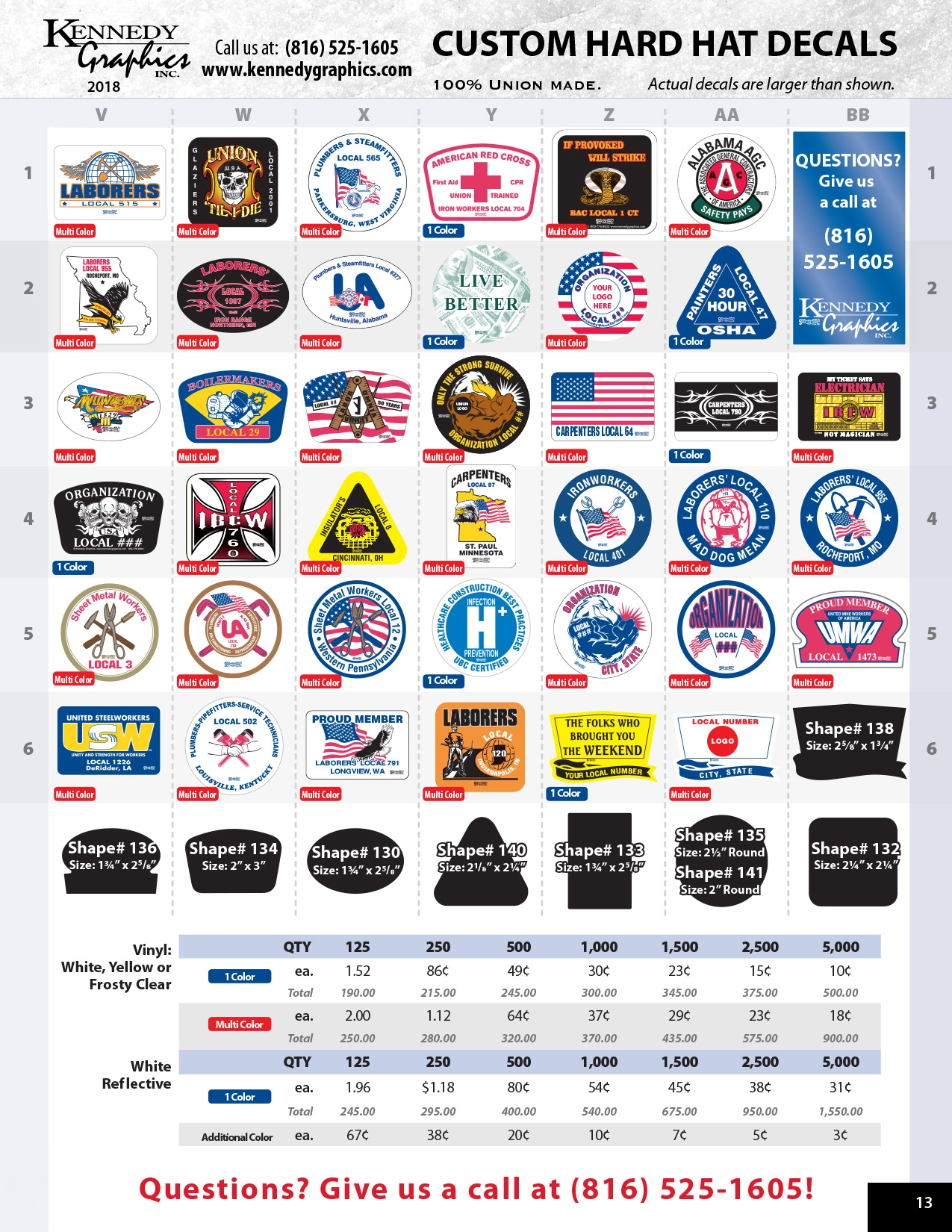 Kennedy Graphics Custom Hard Hat Decals 2018 catalog page 13